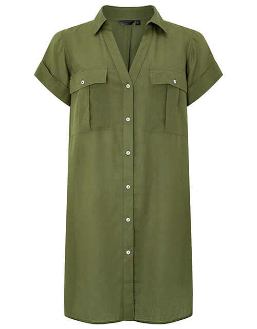 Beach Shirt Dress in LENZING™ ECOVERO™, Green (KHAKI), large