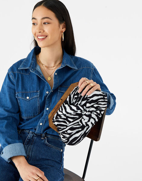 Zebra Pleated Clutch Bag , , large