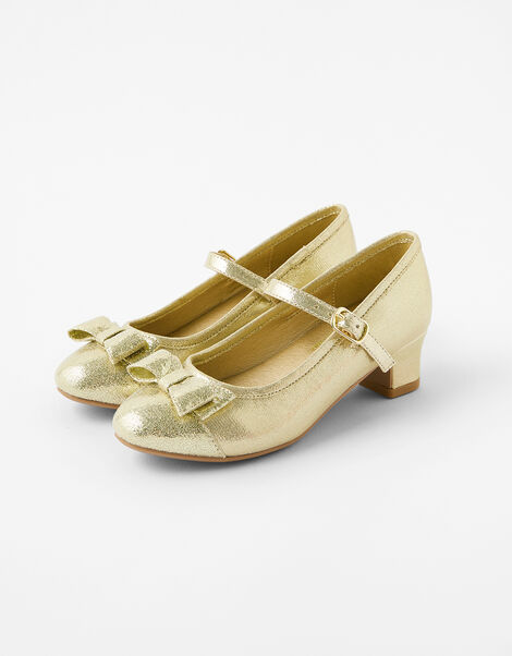 Girls Bow Shimmer Flamenco Shoes Gold, Gold (GOLD), large