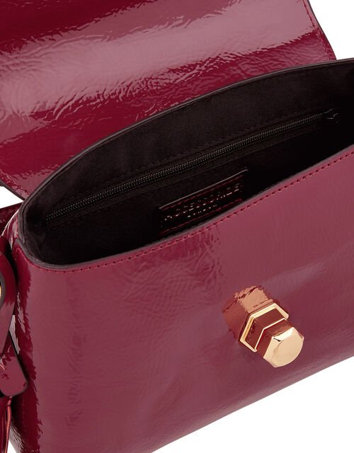 Patent Handheld Bag, Red (BURGUNDY), large