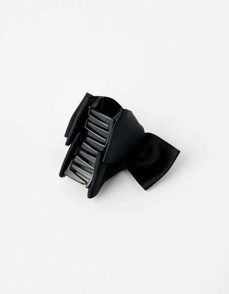 Pearly Bow Bulldog Clip Black, Black (BLACK), large