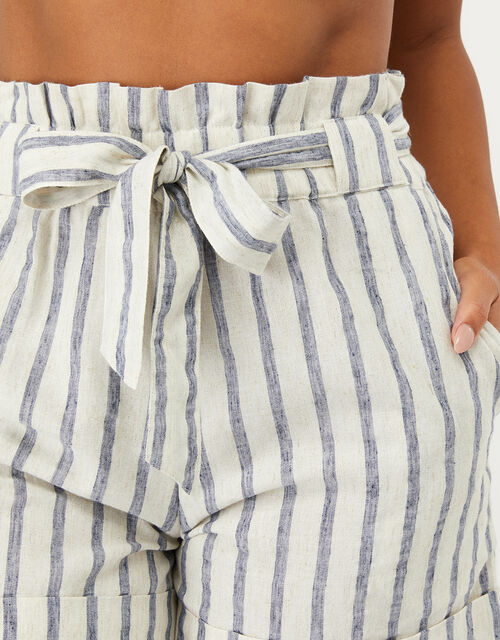 Paper-Bag Striped Shorts in Linen-Mix Fabric, Blue (BLUE), large
