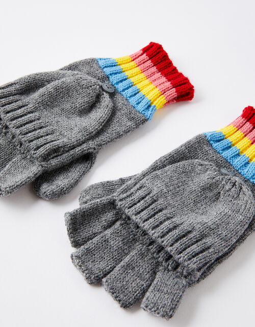 Rainbow Stripe Capped Gloves, , large