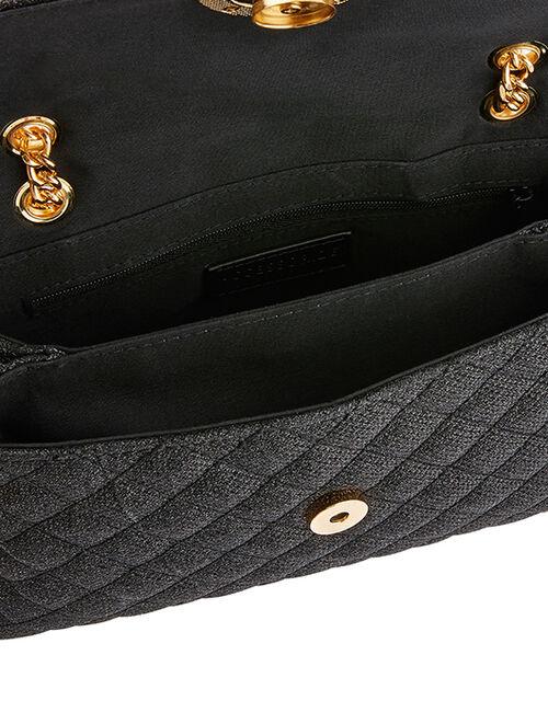 Ayda Quilted Metallic Shoulder Bag, Black (BLACK), large