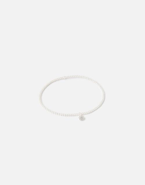 Sterling Silver Pave Ball Stretch Bracelet, , large