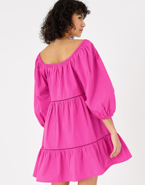 Puff Sleeve Dress in Organic Cotton Pink, Pink (PINK), large