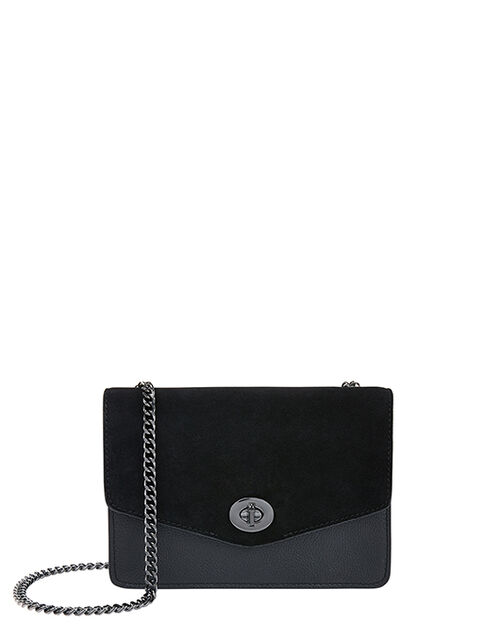 Clara Leather Cross-Body Bag, Black (BLACK), large