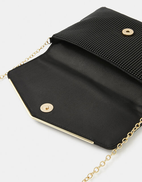 Embellished Envelope Clutch Bag, Black (BLACK), large