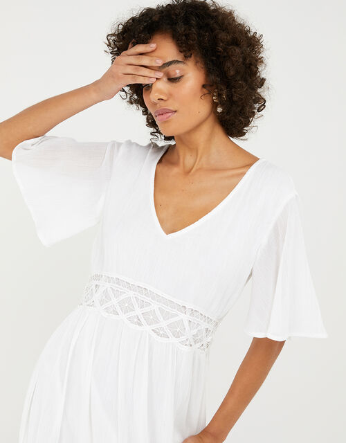 Lace-Insert Maxi Dress, White (WHITE), large