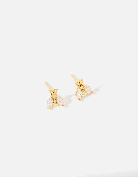 Gold-Plated Bee Stud Earrings, , large