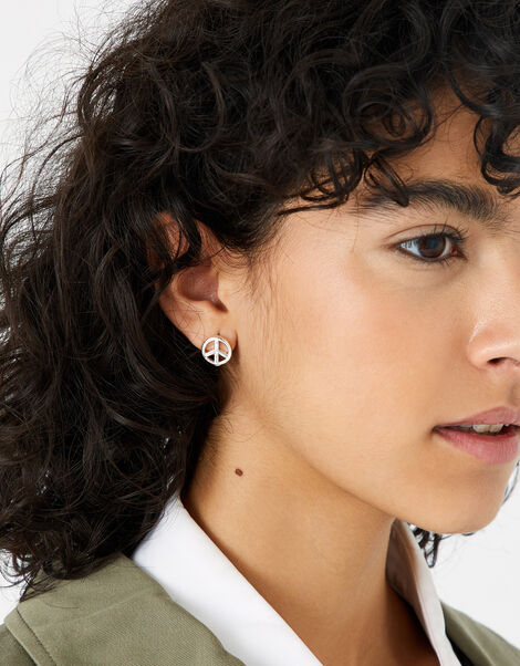 Peace Sign Stud Earrings, , large