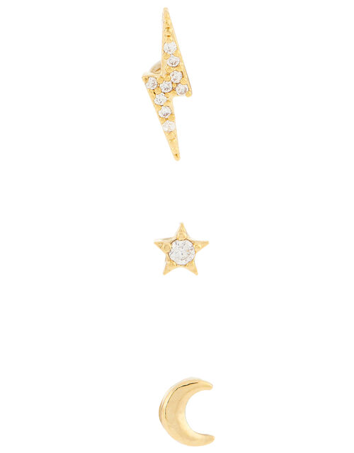 Moon, Star and Bolt Flat-Back Piercing Set, , large