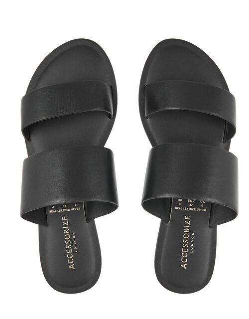 Wide Strap Mule Sandals, Black (BLACK), large