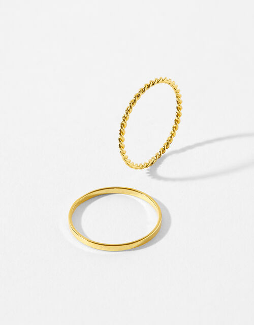 Gold-Plated Stacking Band Ring Set, Gold (GOLD), large