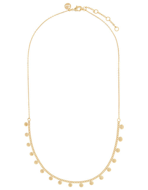 Gold-Plated Disc Charm Station Necklace, , large