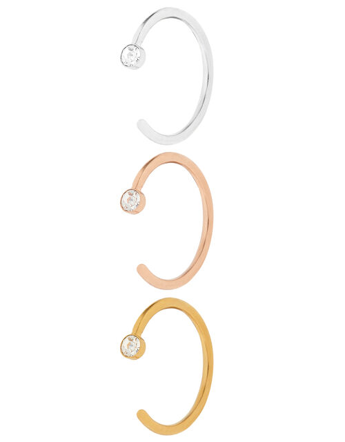 3x Crystal Lip, Ear And Nose Rings, , large