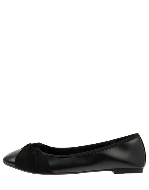 Twist Ballerina Flat Shoes, Black (BLACK), large