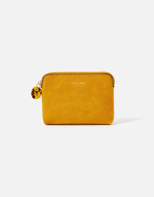 Resin and Reptile Coin Purse, Yellow (OCHRE), large