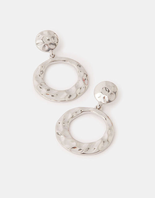 Textured Double Circle Drop Earrings, , large