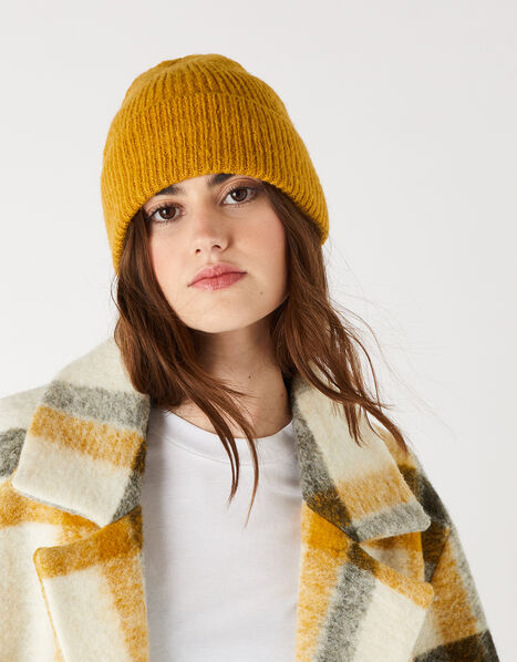 Soho Knit Beanie Hat Yellow, Yellow (OCHRE), large