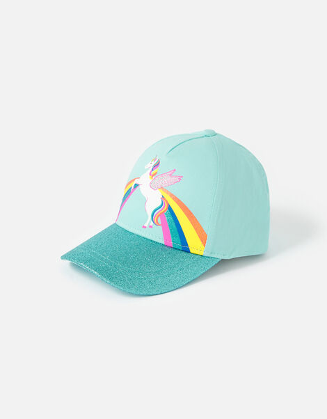 Retro Unicorn Glitter Baseball Cap Blue, Blue (AQUA), large