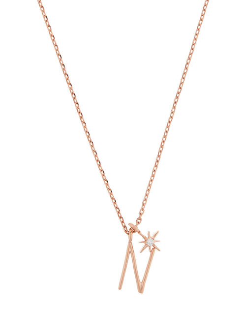 Rose Gold-Plated Initial Star Necklace - N, , large
