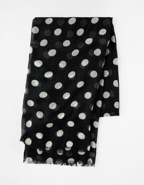Monochrome Polka-Dot Scarf, , large