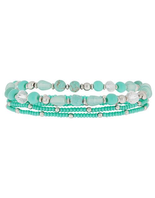 Turquoise Bead Stretch Bracelet Set, , large