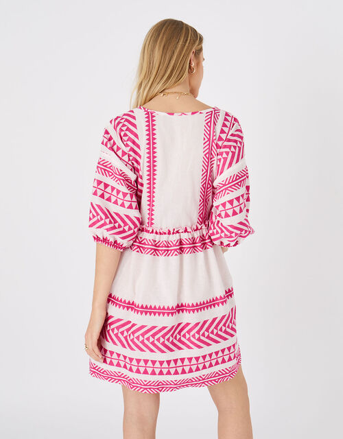 Patterned Jacquard Smock Dress, Pink (PINK), large