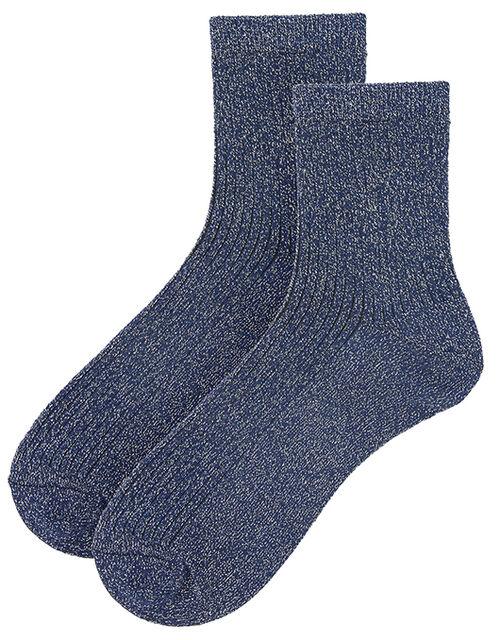 Ribbed Sparkle Ankle Socks, Blue (NAVY), large