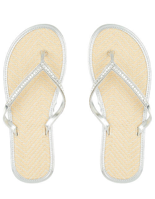 Crystal Flip Flops with Seagrass Footbeds, Silver (SILVER), large