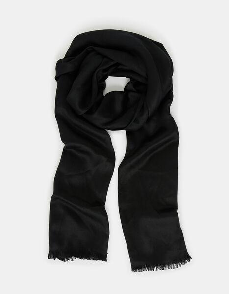 Plain Woven Stole Black, Black (BLACK), large