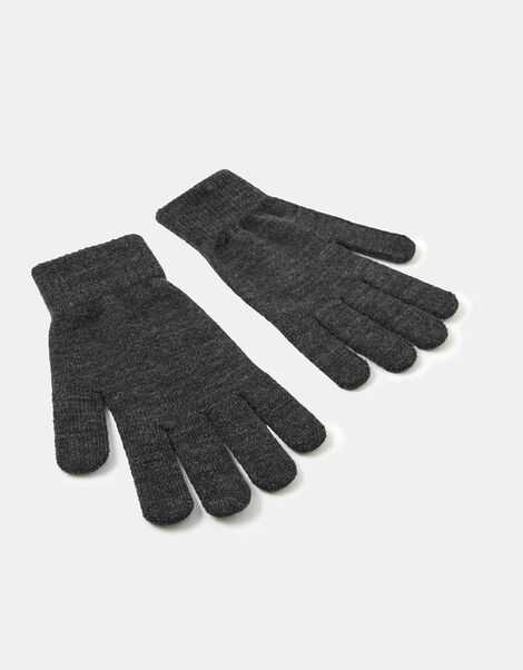 Super-Stretch Knit Gloves Grey, Grey (GREY), large