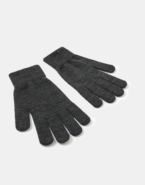 Super-Stretch Knit Gloves, Grey (GREY), large