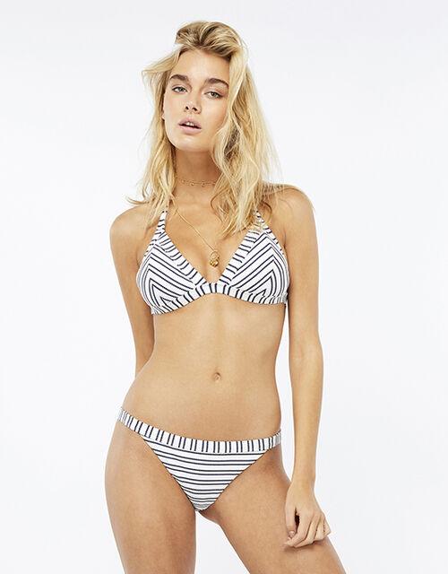 Textured Stripe Triangle Bikini Top, Blue (NAVY), large