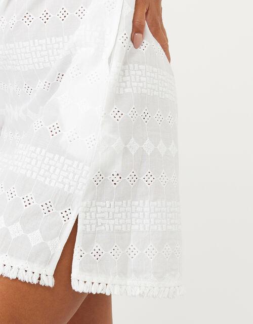 Schiffli Bardot Dress in Pure Cotton, White (WHITE), large