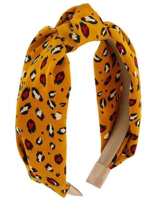 Leopard Print Wide Knot Headband, , large