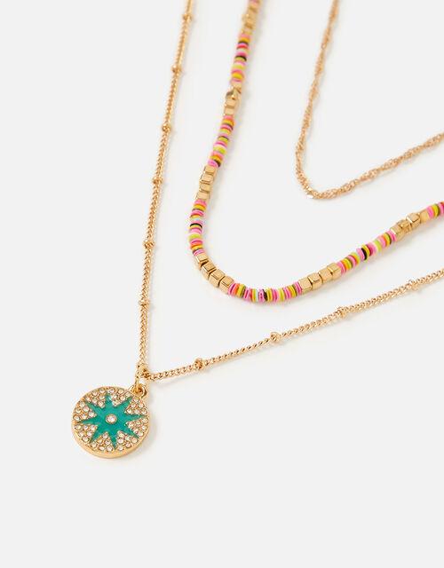 Island Vibes Enamel Discy Seedbead Necklace Set, , large