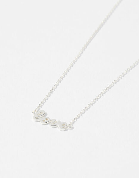 Sterling Silver Love Necklace, , large