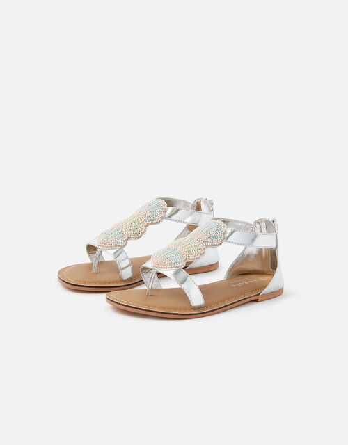 Shell Beaded Sandals, Multi (BRIGHTS-MULTI), large