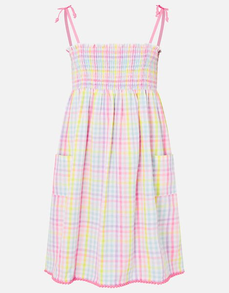 Rainbow Check Dress in Pure Cotton Multi, Multi (BRIGHTS-MULTI), large