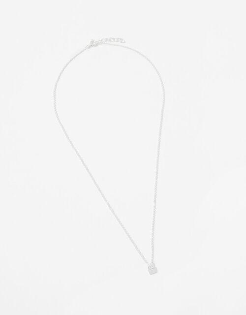 Sterling Silver Padlock Necklace, , large