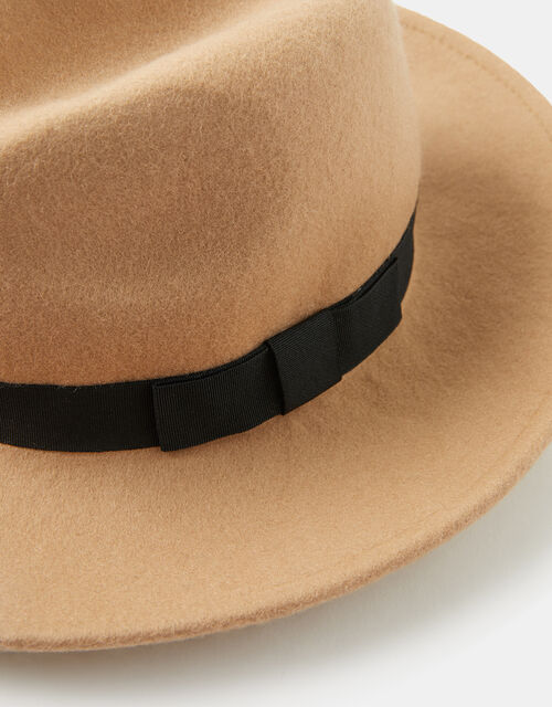 Ribbon Trim Fedora in Pure Wool, Camel (CAMEL), large