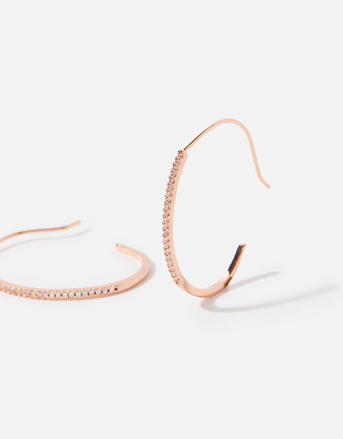 Rose Gold-Plated Pave Hoop Earrings, , large