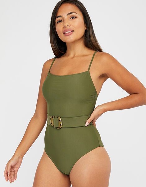 Belted Swimsuit Green, Green (KHAKI), large