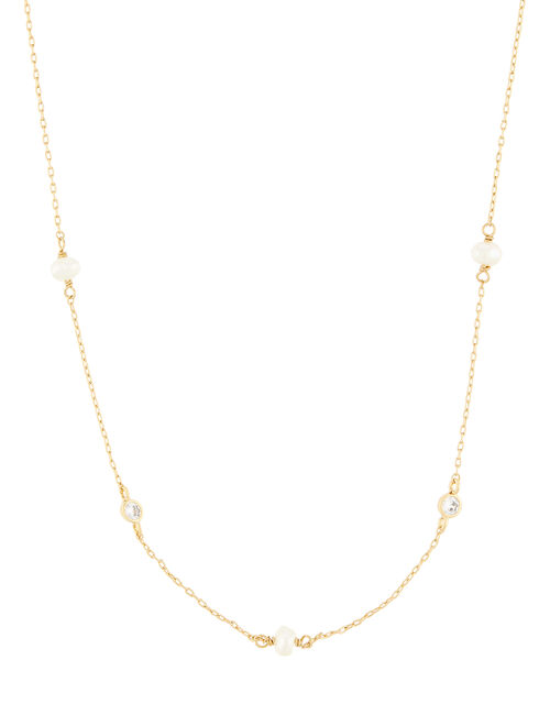 Gold-Plated Pearl Station Necklace, , large