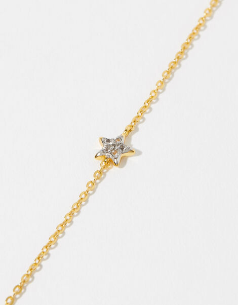 Gold Vermeil White Topaz Star Bracelet, , large