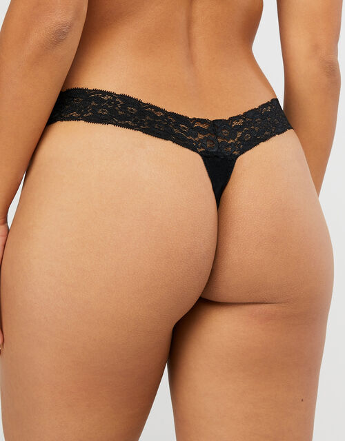 Halenka Lace Thong Multipack, Black (BLACK), large
