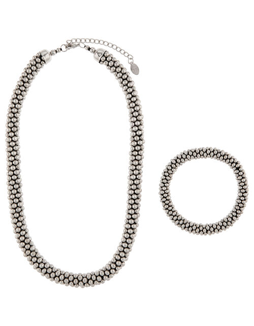 Bobble Necklace and Bracelet Set, Silver (SILVER), large