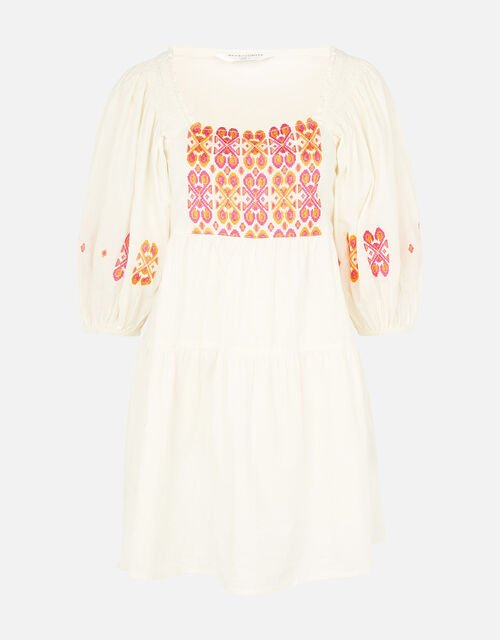 Embroidered Dress in Pure Cotton, Multi (BRIGHTS-MULTI), large